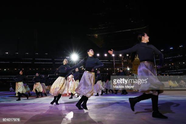 Entertainers perform during the Closing Ceremony of the PyeongChang 2018 Winter Olympic Games at PyeongChang Olympic Stadium on February 25 2018 in...