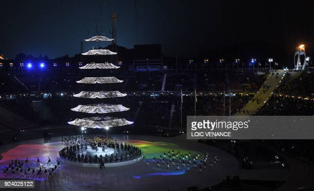 Entertainers perform during the closing ceremony of the Pyeongchang 2018 Winter Olympic Games at the Pyeongchang Stadium on February 25 2018 / AFP...