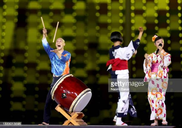 Entertainers perform during the Closing Ceremony of the Tokyo 2020 Olympic Games at Olympic Stadium on August 08, 2021 in Tokyo, Japan.
