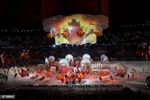 Entertainers perform during the Closing Ceremony of the Vancouver 2010 Winter Olympics at BC Place on February 28 2010 in Vancouver Canada