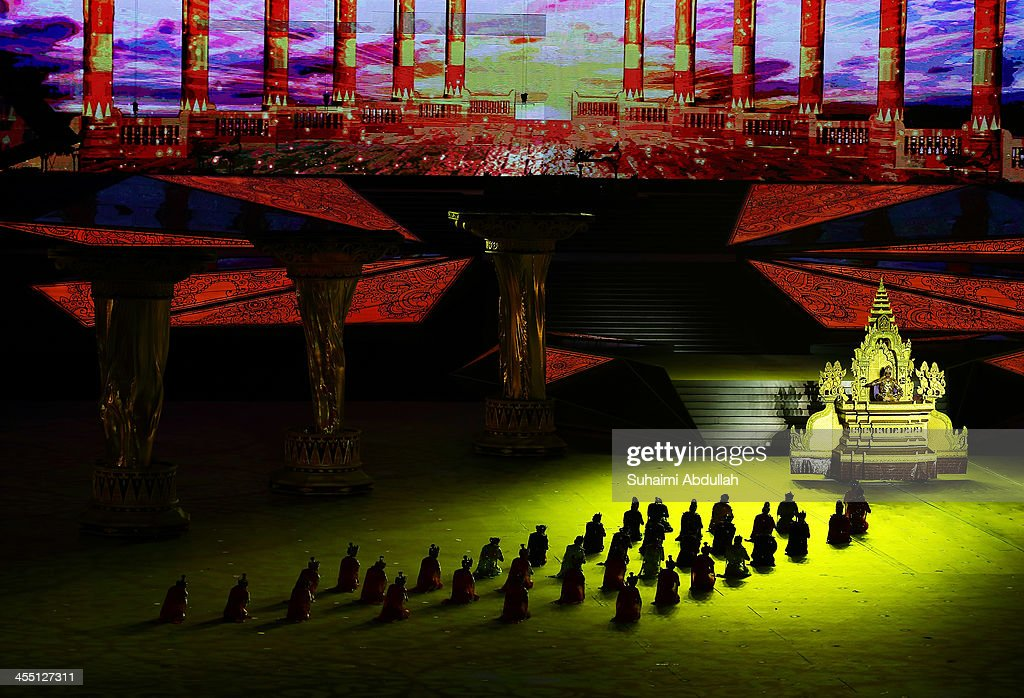 Entertainers perform during the Opening Ceremony of the 2013 Southeast Asian Games at Wunna Theikdi Stadium on December 11, 2013 in Nay Pyi Taw, Burma.