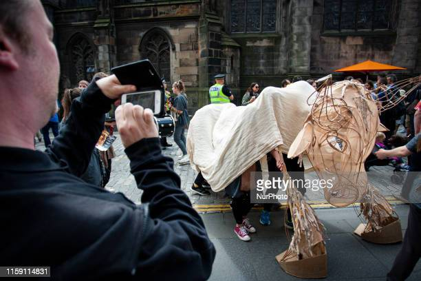 Entertainers perform on the Royal Mile during day 1 of the Edinburgh Fringe Festival on August 2 2019 in Edinburgh Scotland The Festival is the...