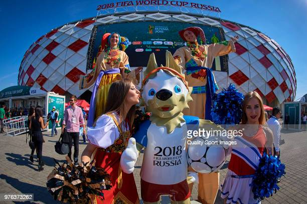 Entertainers pose outside of the Spartak Stadium prior the 2018 FIFA World Cup Russia group D match between Argentina and Iceland at Spartak Stadium...