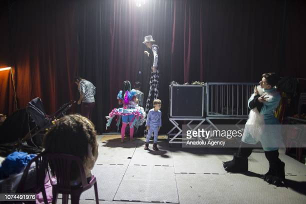 Entertainers prepare for a performance at an animalfree circus in Ankara Turkey on December 15 2018 Owners of an animalfree circus Ulas and Melike...