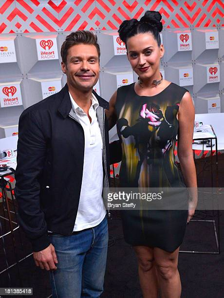 Entertainers Ryan Seacrest and Katy Perry attend the iHeartRadio Music Festival at the MGM Grand Garden Arena on September 20 2013 in Las Vegas Nevada