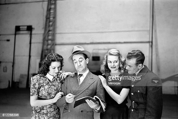 Entertainers Stanley Lupino Pat Kirkwood Sally Gray and Freddie Carpenter seen here rehearsing at the BBC TV Studios at Alexander Palace Circa...