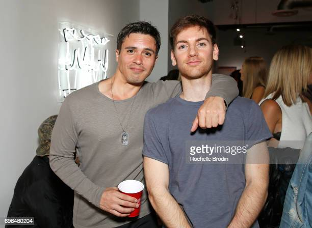 Entertainment agent Nick Cordasco and artist Michael De Angelo attend the Make Me Famous exhibit hosted by The Kaplan Twins at De Re Gallery on June...