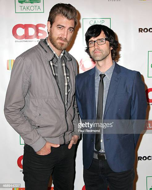 Entertainment and advertising personalities Rhett James McLaughlin and Charles Lincoln 'Link' Neal of Rhett and Link arriving at 'Camp Takota' Sneak...
