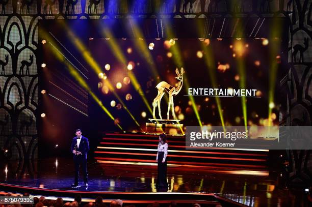 'Entertainment' Award Winner Hugh Jackman and Iris Berben during the Bambi Awards 2017 show at Stage Theater on November 16 2017 in Berlin Germany