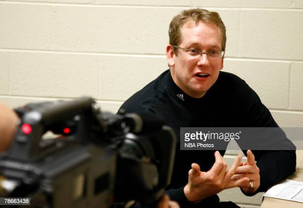 Entertainment camera crew films Iowa Energy head coach Nick Nurse in the locker room before the game against the Sioux Falls Skyforce on December 27...