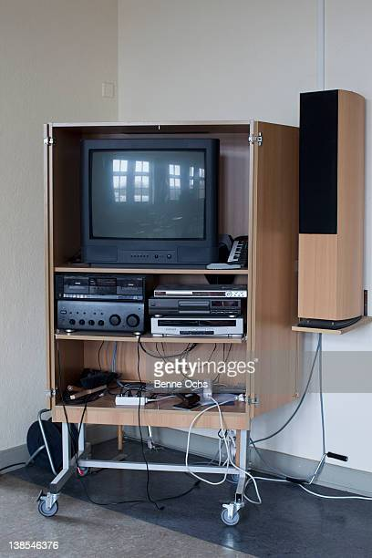 tv entertainment centre for school - dvd player stock photos and pictures