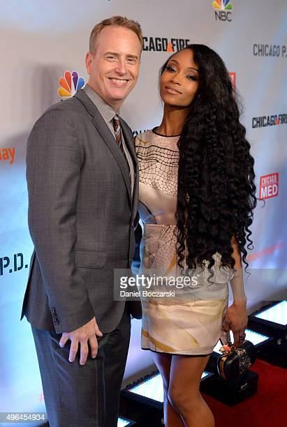 Entertainment chairman Robert Greenblatt and actress Yaya DaCosta attend a premiere party for NBC's 'Chicago Fire', 'Chicago P.D.' and 'Chicago Med'...