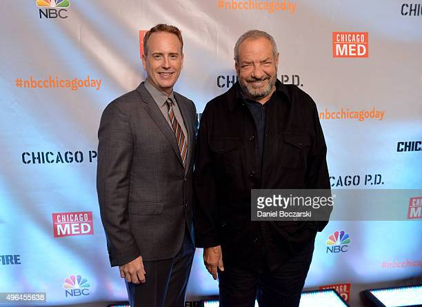 Entertainment chairman Robert Greenblatt and Executive Producer Dick Wolf attend a premiere party for NBC's 'Chicago Fire', 'Chicago P.D.' and...