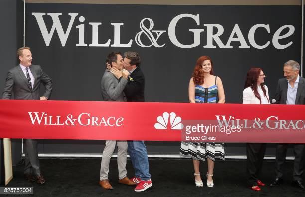NBC Entertainment Chairman Robert Greenblatt Eric McCormack Sean Hayes Debra Messing Megan Mullally and Creator David Kohan attend the 'Will Grace'...
