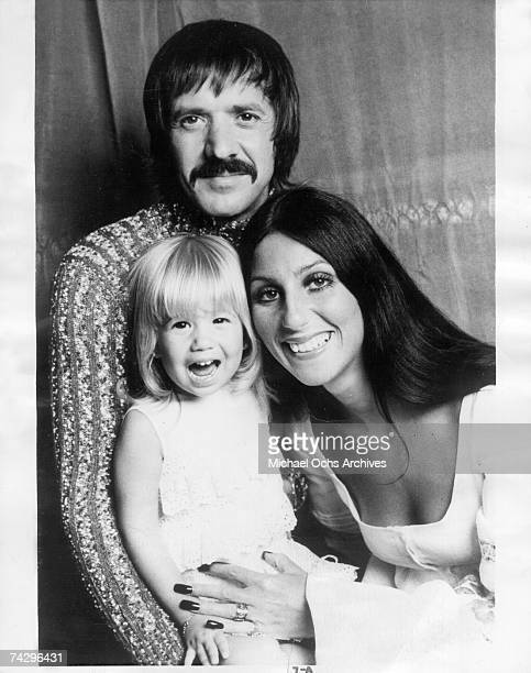 Entertainment family Sonny Bono Cher and their daughter Chastity Bono pose for a portrait in 1970