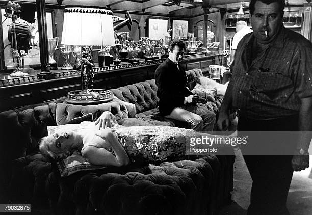 Entertainment Films USA Behind the scenes during the making of the comedy film Some Like it Hot Legendary actress Marilyn Monroe lies back on the...