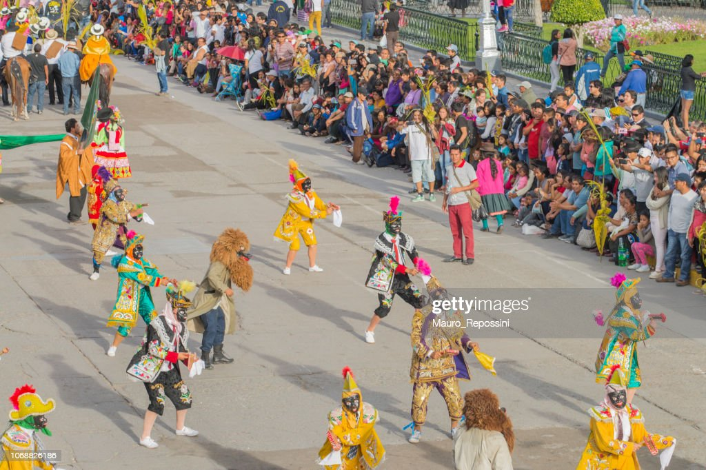 Entertainment group performing during the celebration of the Palm Sunday of Easter at Ayacucho, Peru. : Stock Photo