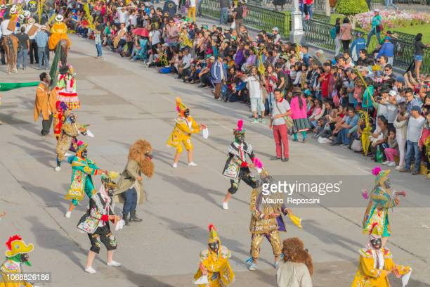 Entertainment group performing during the celebration of the Palm Sunday of Easter at Ayacucho, Peru.