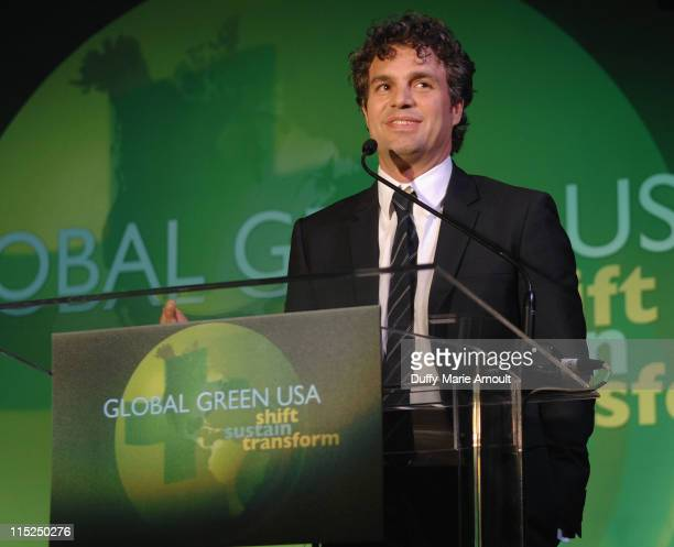 Entertainment Industry Environmental Leadership Award recipient Mark Ruffalo speaks onstage during Global Green USA's 15th annual Millenium Awards at...