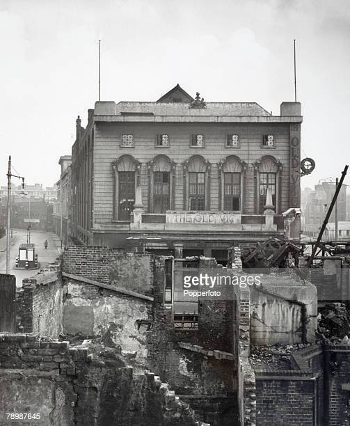 Entertainment London England The Old Vic theatre at Waterloo seen amongst the World War Two bomb damage