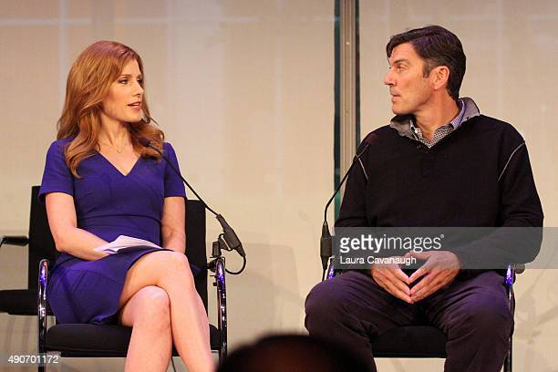 Entertainment Media Correspondent at CNBC Julia Boorstin and Chairman CEO of AOL Tim Armstrong speaks onstage at the Tim Armstrong 11 panel presented...