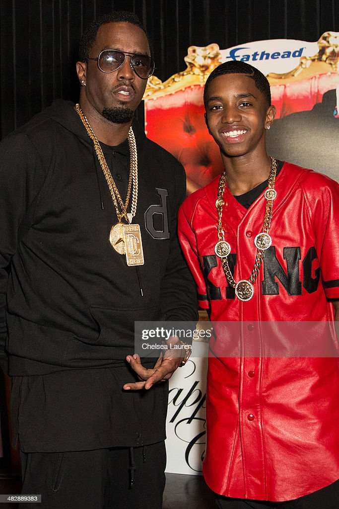 Entertainment mogul Sean 'Diddy' Combs (L) and Christian Casey Combs attend Christian Casey Combs' 16th birthday party at 1OAK on April 4, 2014 in West Hollywood, California.