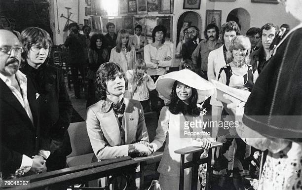 Entertainment Music St Tropez France 12th May 1971 Rolling Stones lead singer Mick Jagger sits next to his Nicaraguan bride Bianca Perez Moreno De...