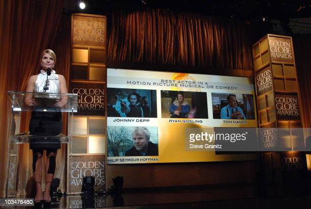 Entertainment news anchor Dayna Devon announces Best Actor in a Motion Picture Musical or Comedy at The 65th Annual Golden Globe Awards Announcement...