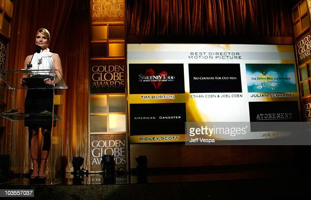 Entertainment news anchor Dayna Devon announces Best Director Motion Picture winner at The 65th Annual Golden Globe Awards Announcement at the...