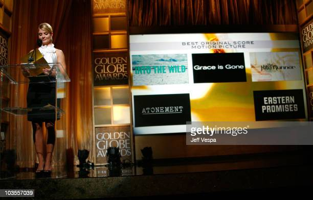 Entertainment news anchor Dayna Devon announces Best Original Score Motion Picture winner at The 65th Annual Golden Globe Awards Announcement at the...