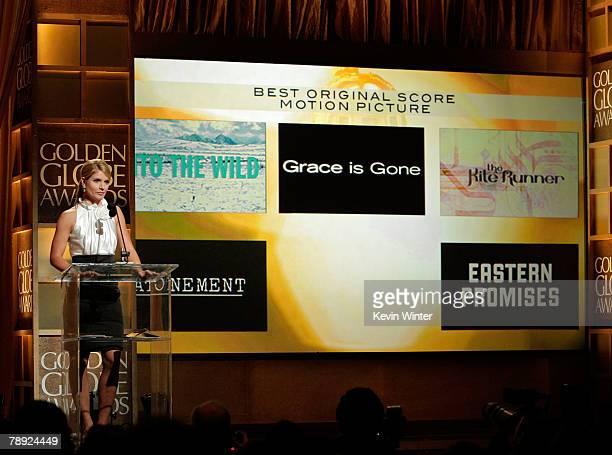 Entertainment News Anchor Dayna Devon Announces The Winner Of Best Original Score Motion Picture Award During 65th Annual Golden Globe