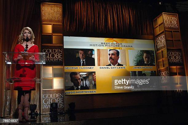 Entertainment News Anchor Mary Hart Announces Best Actor Motion Picture Drama Winner At The 65th Annual Golden Globe Awards Announcements