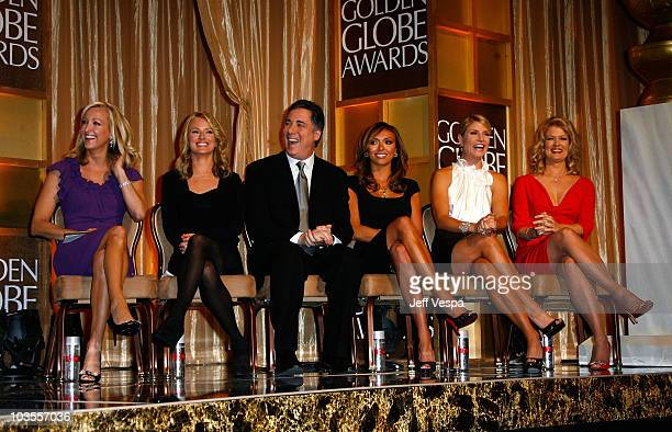 Entertainment news anchors Lara Spencer Brooke Anderson Jim Moret Giuliana Rancic Dayna Devon and Mary Hart at The 65th Annual Golden Globe Awards...