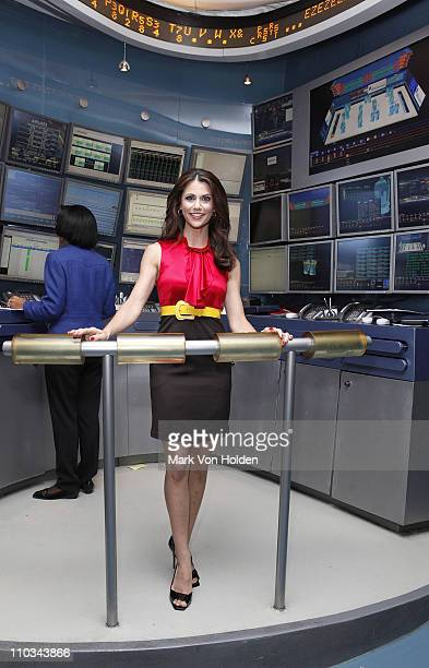 Entertainment news journalist Samantha Harris poses for a photo at the New York Stock Exchange on July 21, 2009 in New York City.