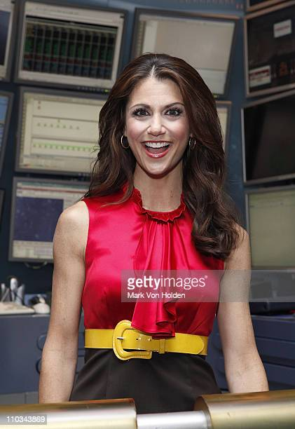 Entertainment news journalist Samantha Harris poses for a photo at the New York Stock Exchange on July 21 2009 in New York City