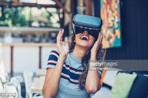 entertainment of the future - virtual reality simulator stock photos and pictures