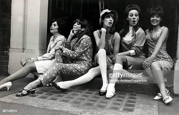 Entertainment Personalities London 29th June 1965 Five hopeful young women about to start rehearsals for West End roles in Passion Flower Hotel LR...