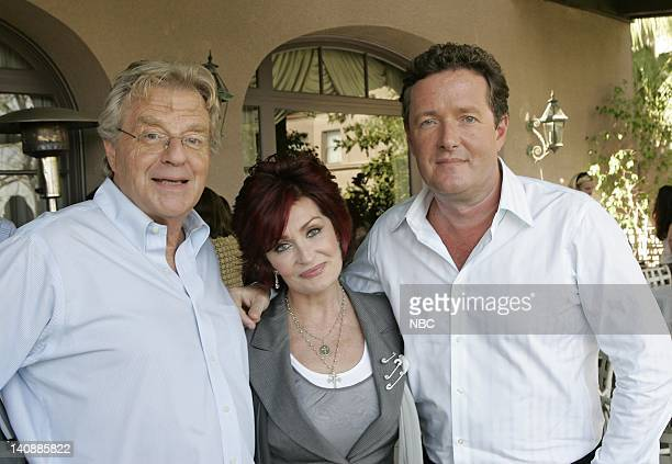 Entertainment -- Pictured: Jerry Springer, Sharon Osbourne and Piers Morgan on April 27, 2007 -- Photo by: Chris Haston/NBCU Photo Bank