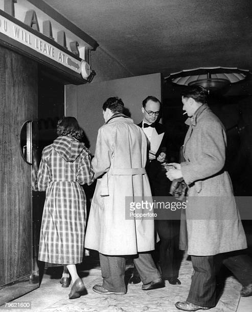 Entertainment Stage and Screen Cinema Great Britain pic circa 1951 Tickets are checked at the Gaumont Cinema Finchley as a trainee manager is showing...