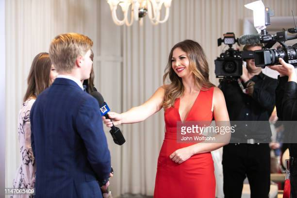 Entertainment Tonight host Lauren Zima interviews the Irwin Family at the Steve Irwin Gala Dinner at SLS Hotel on May 04 2019 in Beverly Hills...