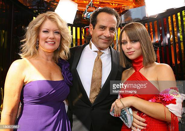 ACCESS*** Entertainment Tonight reporter Mary Hart actor Tony Shalhoub and his daughter Sophie attend the 60th Primetime Emmy Awards held at the...