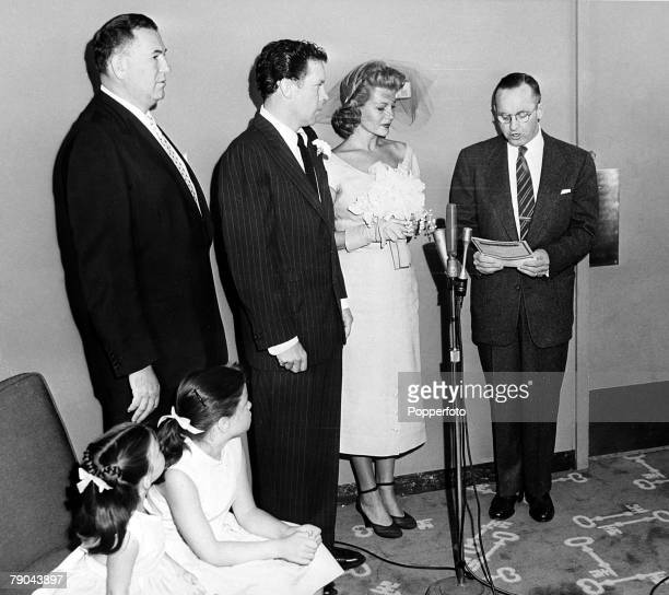 Entertainment USA 24th September 1953 Actress Rita Hayworth marries her fourth husband Singer Dick Haymes at the Sands Hotel Standing next to the...
