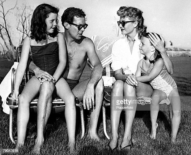 Entertainment USA September 1953 Actress Rita Hayworth marries her fourth husband Singer Dick Haymes at the Sands Hotel A relaxed family moment amid...