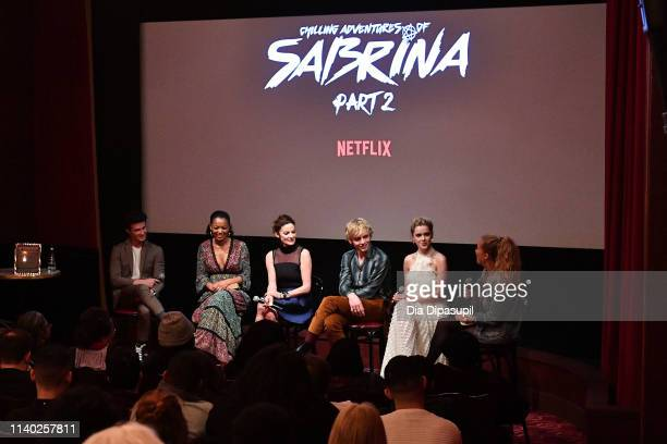 Entertainment Weekly's Ruth Kinane interviews Kiernan Shipka Ross Lynch Michelle Gomez Jaz Sinclair and Gavin Leatherwood at a screening of the...
