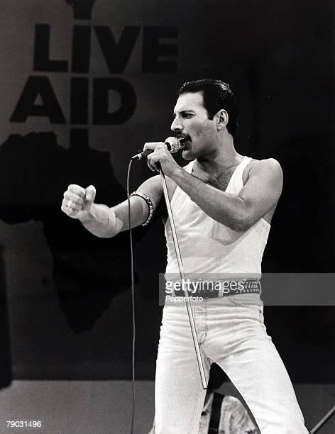 Entertainment/Music Live Aid Concert Wembley London England 13th July 1985 Freddie Mercury of the rock group Queen is pictured performing at the...
