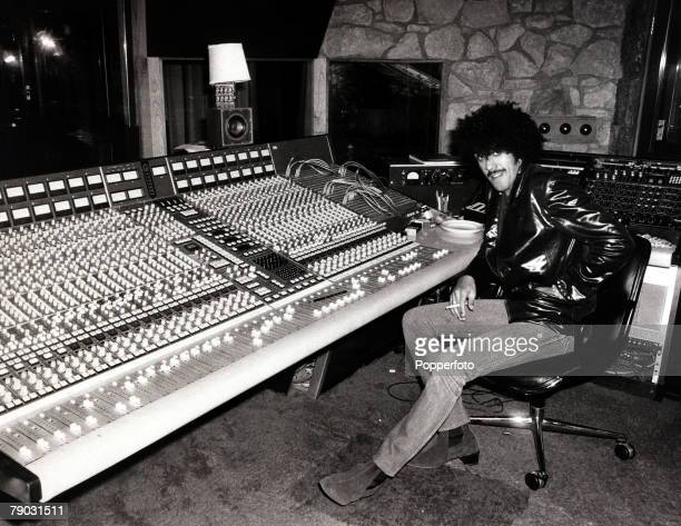 Entertainment/Music London England 6th March 1981 Phil Lynott of the Irish rock group 'Thin Lizzy' is pictured in a London recording studio