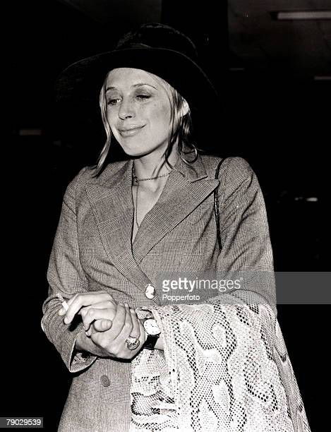 Entertainment/Music/Cinema London England 26th June 1970 British singer and actress Marianne Faithfull pictured at Heathrow Airport after arriving...