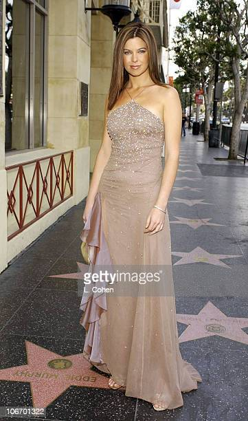 E Entertainment's television star Jules Asner wears Anne Bowen's Hearts On Fire diamond gown on her way to the red carpet to report from the 74th...