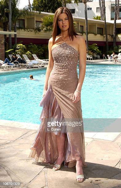 E Entertainment's television star Jules Asner wears Anne Bowen's Hearts On Fire diamond gown at the Hollywood Roosevelt hotel