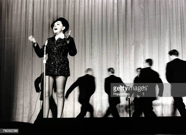 Entertainment/Stage London England 19th October 1957 American actress and entertainer Judy Garland is pictured on stage at the Dominion Theatre